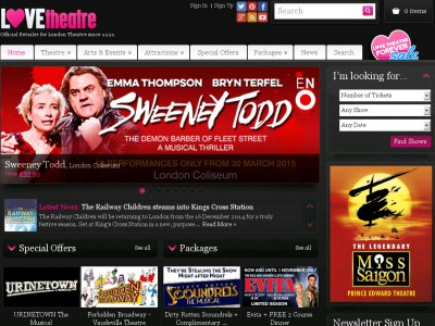 LoveTheatre Voucher Codes Home > Stores > LoveTheatre Voucher Codes Finding inexpensive tickets to entertainment in London (or the greater London area) can be a bit difficult if one does not use the Love Theater online resource.
